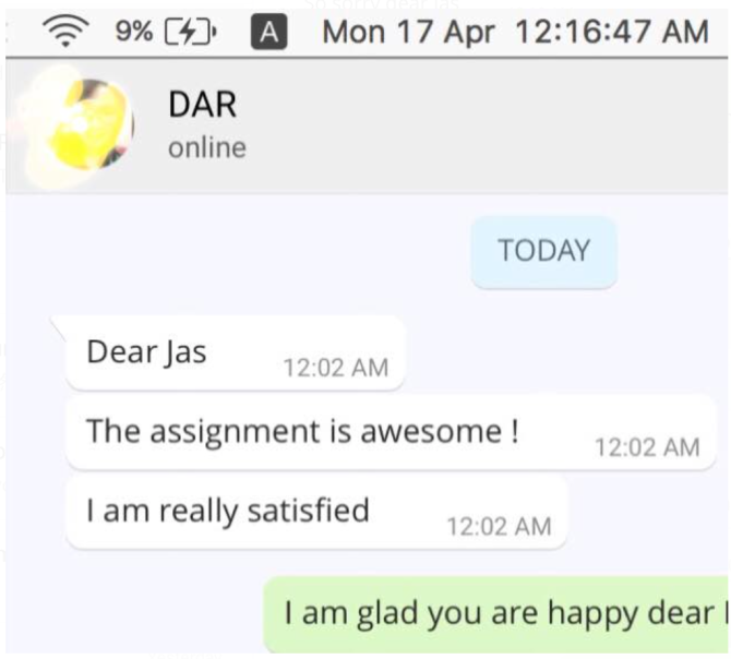 On 17.4.2017 our client said she is very satisfied with our research work done =)